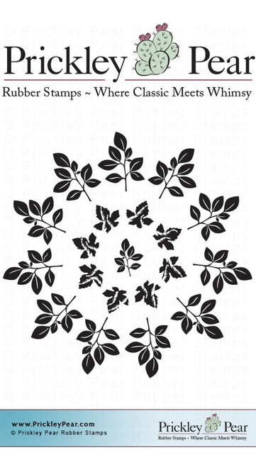 Maple Leaf Doily - Red Rubber Stamp