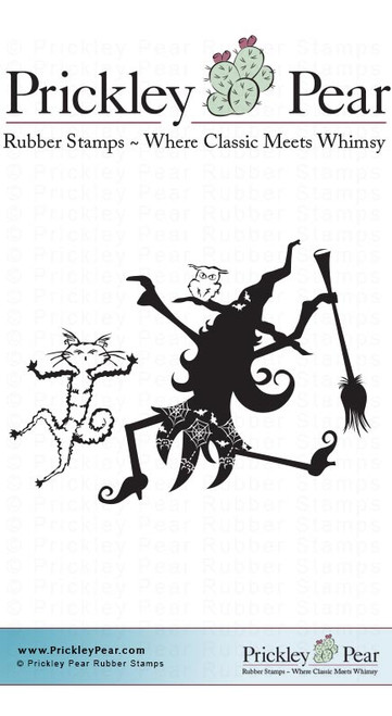 Dancing Witch, Small - Red Rubber Stamp