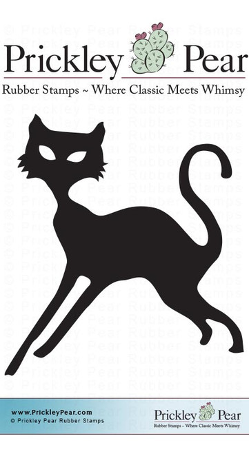 Midnight Kitty - Red Rubber Stamp