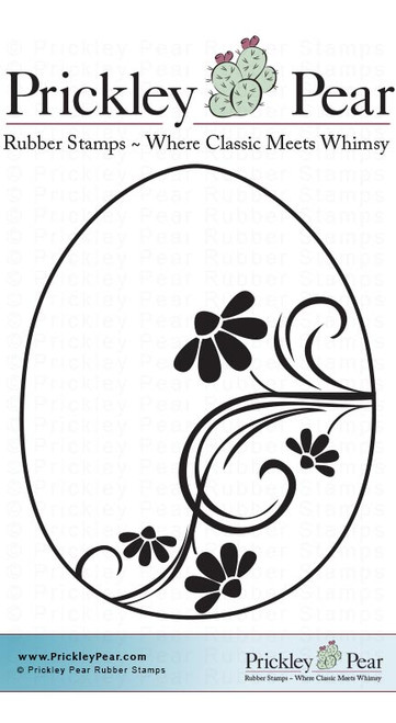 Flourished Egg - Red Rubber Stamp