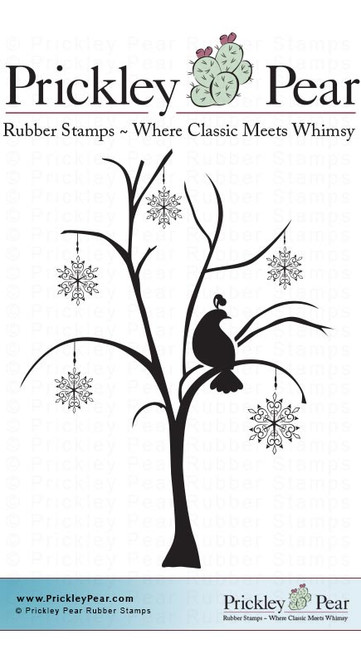 Patridge & Snowflake Tree - Red Rubber Stamp