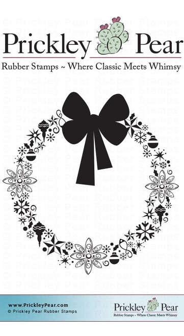 Ornamental Wreath - Red Rubber Stamp