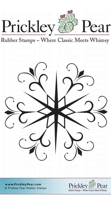 Swirled Snowflake - Red Rubber Stamp