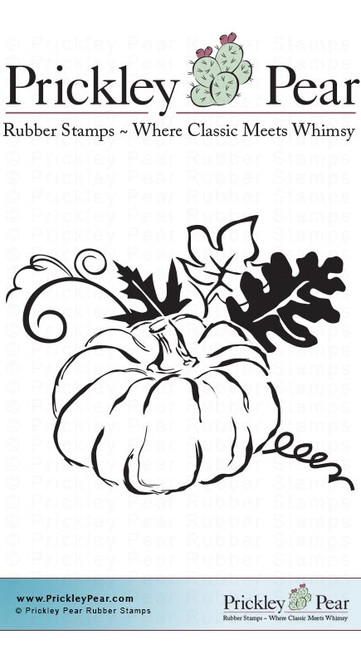Flourished Pumpkin - Red Rubber Stamp