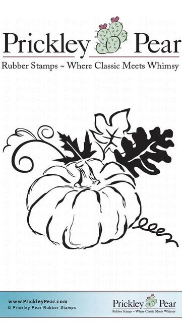 Flourished Pumpkin - Red Rubber Stamp
