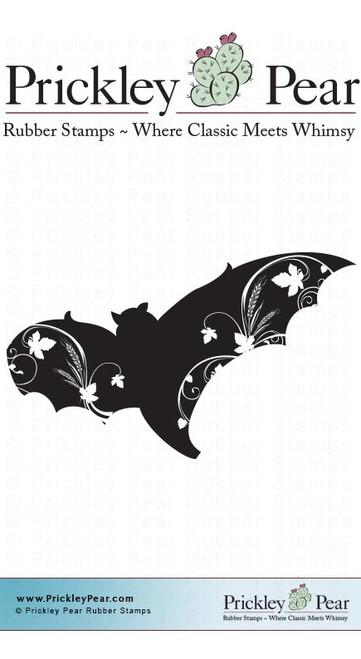Flourished Bat - Red Rubber Stamp