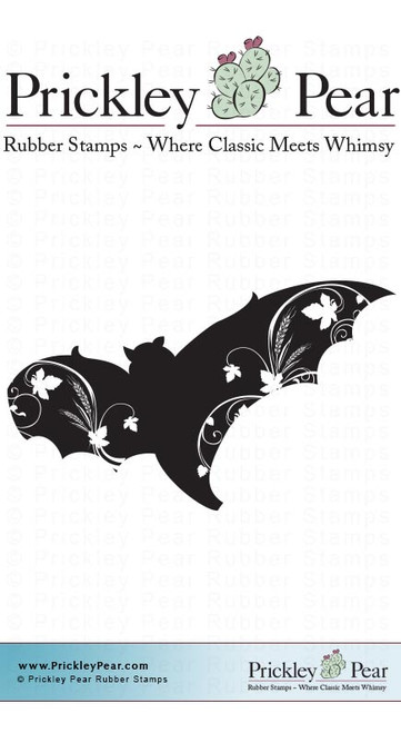 Flourished Bat - Red Rubber Stamp