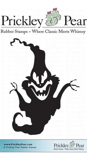 Ghoulish Ghost, Small - Red Rubber Stamp