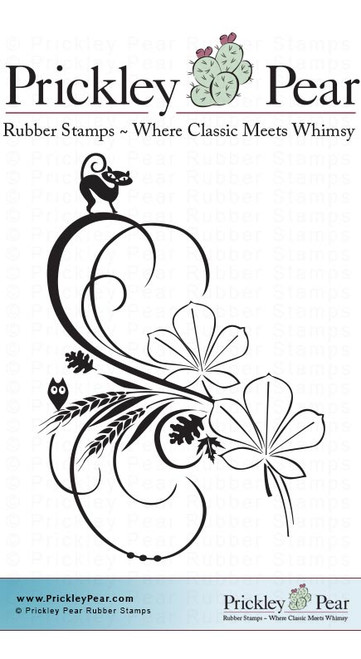 Fall Sway with Black Cat - Red Rubber Stamp