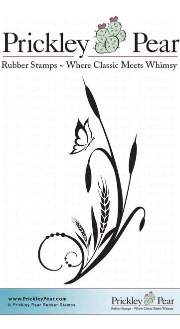 Cattail Flourish - Red Rubber Stamp