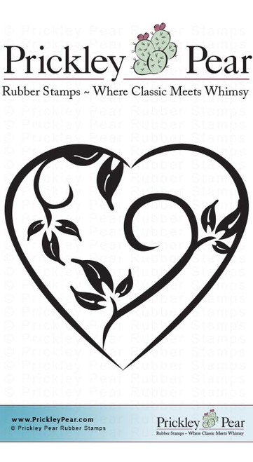 Fauna Heart, Small - Red Rubber Stamp