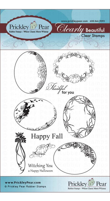 Scalloped Oval 2-Fall - Clear Stamp Set