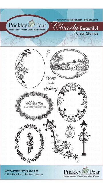 Scalloped Oval 3-Winter - Clear Stamp Set