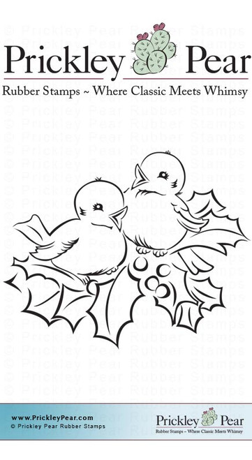 Two Birds with Holly, Small - Red Rubber Stamp