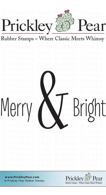 Merry & Bright - Red Rubber Stamp