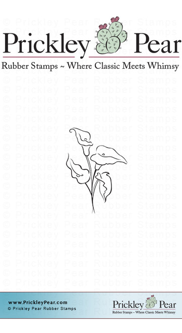 Calla Lilies, Small - Red Rubber Stamp