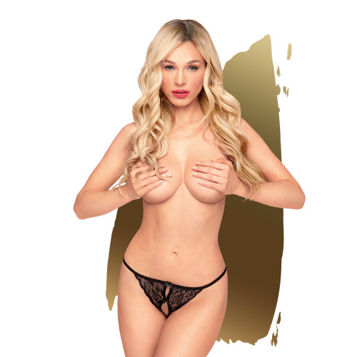 PH-005980 BLK S/M HOT GETAWAY CROTCHLESS THONG, 2 PIECES