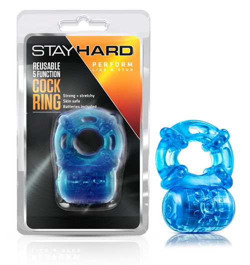 BL-30802 STAY HARD REUSABLE 5FUNCT. COCKRING- BLUE