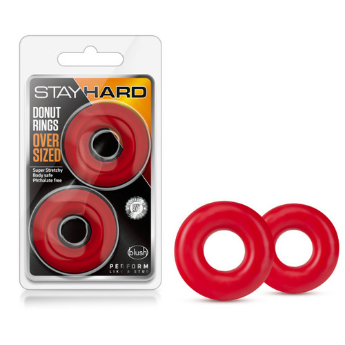 BL-00988 STAY HARD-DONUT RINGS OVERSIZED-RED