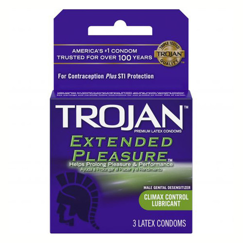 TJ01996 TROJAN EXTENDED PLEASURE-3PK