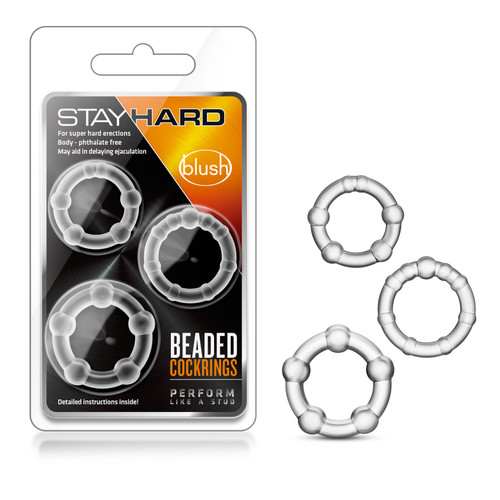 BL-00012 STAY HARD BEADED COCKRINGS 3PK -CLEAR