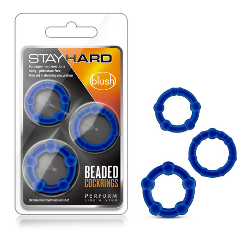 BL-00013 STAY HARD BEADED COCKRINGS 3PK -BLUE