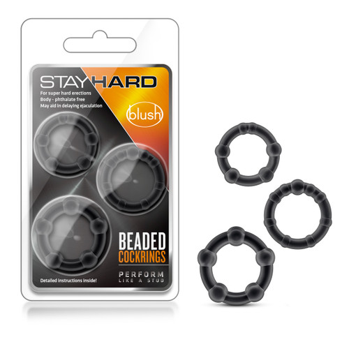 BL-00015 STAY HARD BEADED COCKRINGS 3PK -BLK