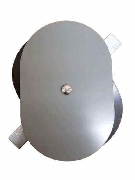 """4""""x6"""" Flat Oval Grey Steel Hand Hole Cover"""