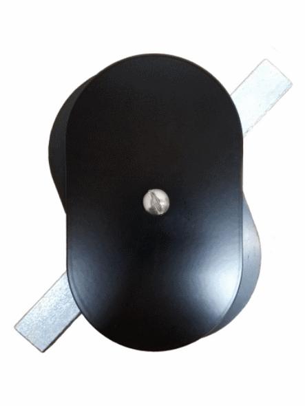 "Hand Hole Cover - 3""x5"" Flat Oval Aluminum  - Black"