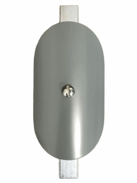 """Hand Hole Cover - 3""""x5"""" Curved Oval Steel  - 4"""" Diameter Pole - Grey"""