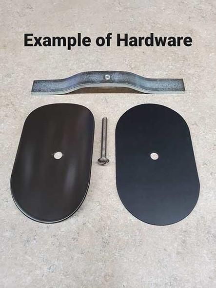 "3""x5"" Curved Rectangular Black Steel Hand Hole Cover - 4"" Diameter Pole"