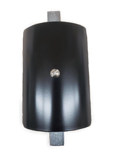 "4""x5"" Curved Rectangular Black Steel Hand Hole Cover - 4"" Diameter Pole"