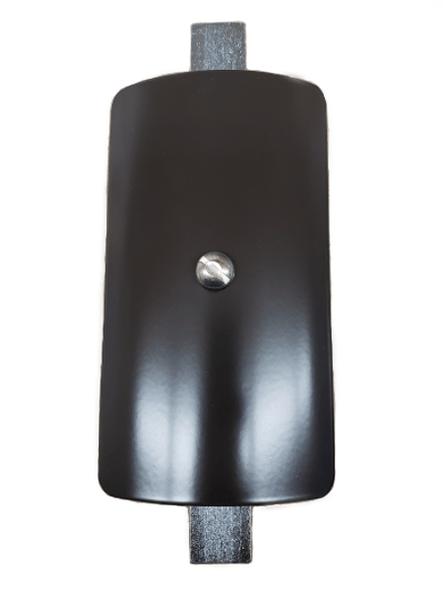 "3""x5"" Curved Rectangular Dark Bronze Steel Hand Hole Cover - 4"" Diameter Pole"