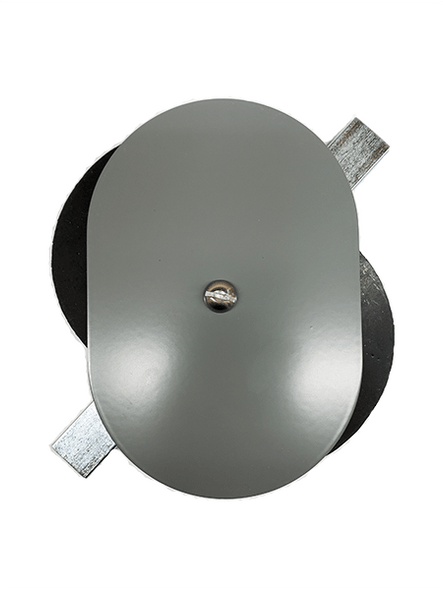"""3.75""""x5.5"""" Flat Oval Grey Steel Hand Hole Cover"""