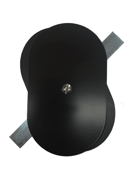 """3.25""""x5.5"""" Flat Oval Black Steel Hand Hole Cover"""