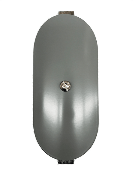 """3""""x6"""" Curved Oval Grey Steel Hand Hole Cover - 5"""" Diameter Pole"""