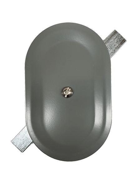 """3.5""""x5.5"""" Stamped Oval Grey Steel Hand Hole Cover"""