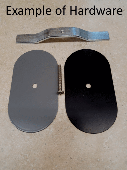 """3.5""""x5.5"""" Flat Oval Black Steel Hand Hole Cover"""