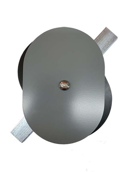 """3.5""""x5"""" Flat Oval Grey Steel Hand Hole Cover"""