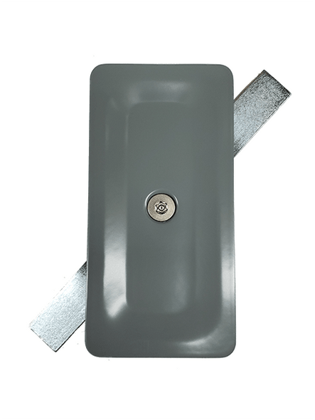 """2.5""""x5"""" Tamper Resistant Stamped Rectangular Grey Steel Hand Hole Cover -"""