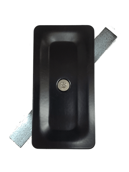 "2.5""x5"" Tamper Resistant Stamped Rectangular Black Steel Hand Hole Cover -"