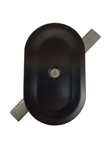 """3""""x5"""" Tamper Resistant Stamped Oval Black Steel Hand Hole Cover"""