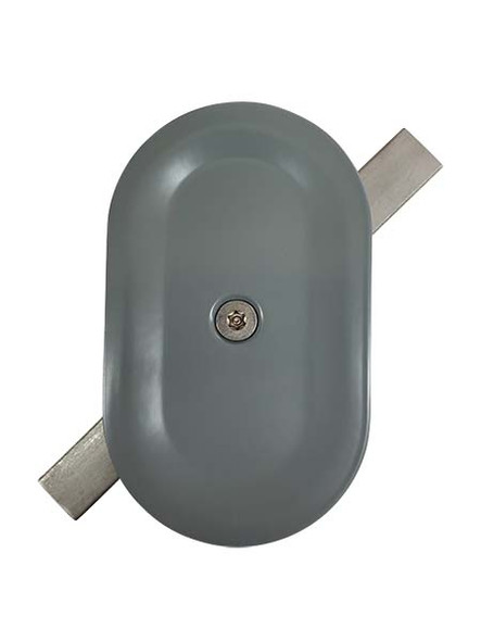 """3""""x5"""" Tamper Resistant Stamped Oval Grey Steel Hand Hole Cover"""