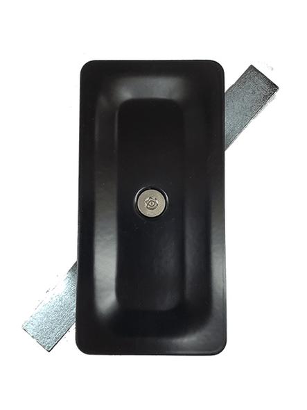 """2.5""""x5"""" Blemished Tamper Resistant Stamped Rectangular Black Steel Hand Hole Cover -"""