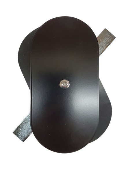 """3""""x6"""" Flat Oval Black Steel Hand Hole Cover"""