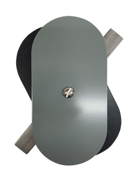 """3""""x6"""" Flat Oval Grey Steel Hand Hole Cover"""