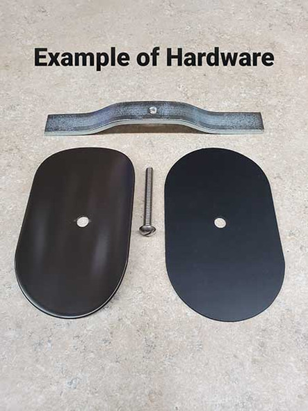 "3""x5"" Curved Rectangular Black Steel Hand Hole Cover - 6"" Diameter Pole"