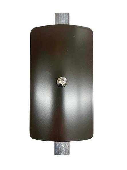 "3""x5"" Curved Rectangular Dark Bronze Steel Hand Hole Cover - 6"" Diameter Pole"