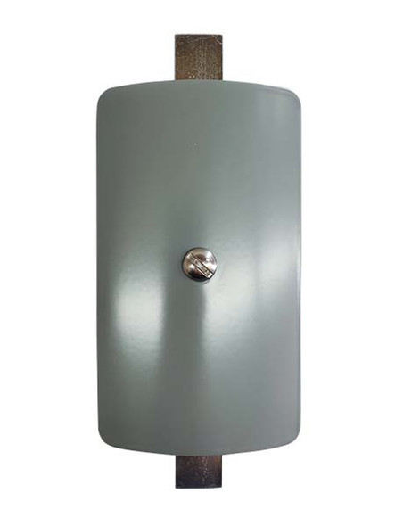"""3""""x5"""" Curved Rectangular Grey Steel Hand Hole Cover - 6"""" Diameter Pole"""