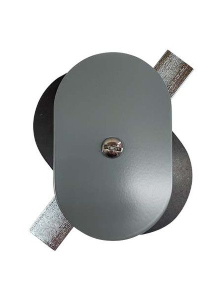 """2.5""""x4"""" Flat Oval Grey Steel Hand Hole Cover"""